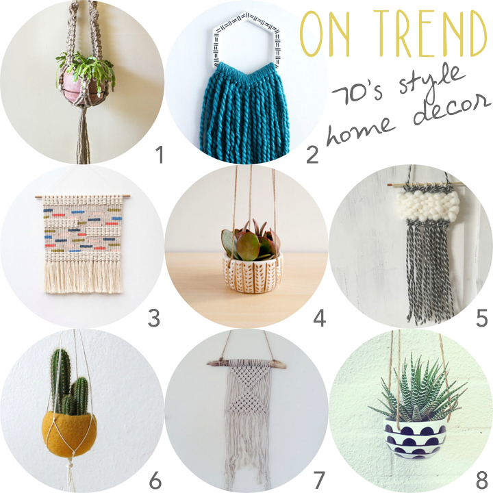 1.  macrame plant hanger  by Hello Chiqui  2.  hexagon wall hanging with teal yarn  by Hello Plum Studio  3.  macrame wall hanging  by Kate and Feather  4.  ceramic hanging planter  by Noe Marin Studio  5.  mini wall hanging  by Javelina Ranch  6.  yellow felt hanging planter  by The Yarn Kitchen  7.  wall hanging  by Bohemian Harvest  8.  ceramic hanging planter  by le collecte