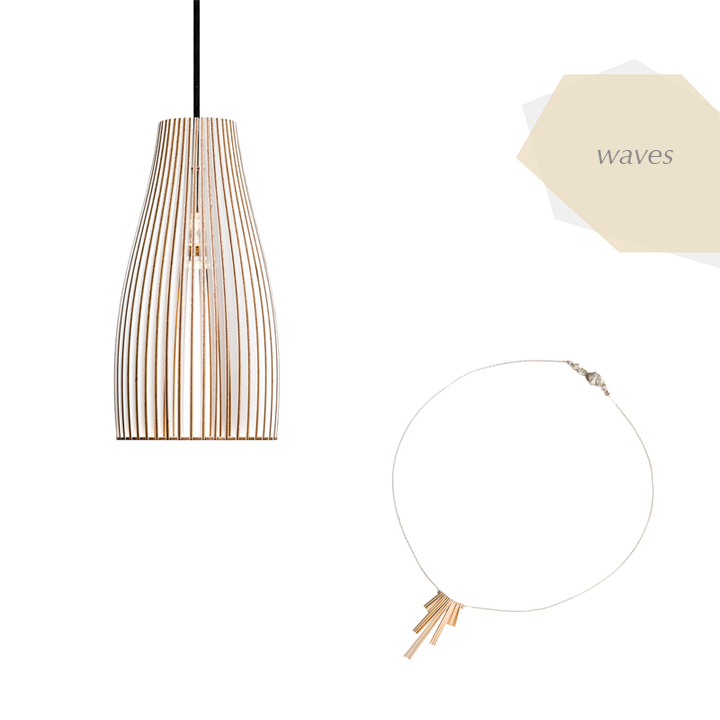 //  LIGHT  //   Ena Wooden Lamp  by iumi design  //  NECKLACE  //   Fringe Necklace  by red chair