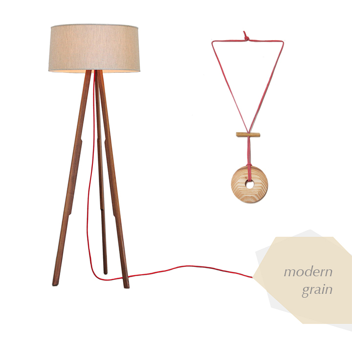 //  LIGHT  //    Modern Floor Lamp   by ample furniture  //  NECKLACE  //    Wooden Necklace Pendant   by brighton exchange