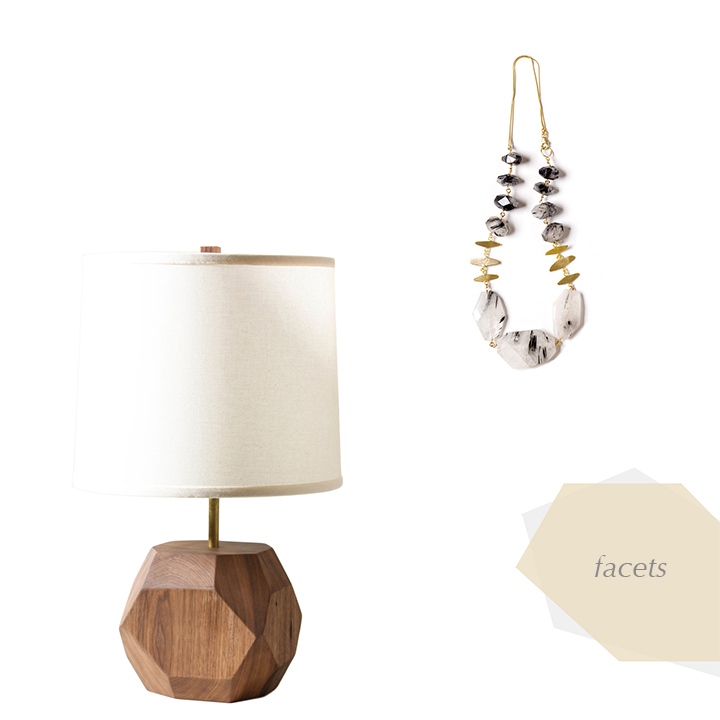 //  LIGHT  //   Gem Walnut Lamp    by worleys lighting  //  NECKLACE  //    Rutilated Quartz Necklace   by the forma