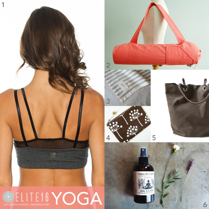 1.  Two Tone Yoga Top  by nina b rose  2.  Coral Yoga Mat Bag  by effie handmade  3.  Striped Linen Towel  by choisette  4.  Botanical Zipper Pouch  by oktak  5.  Waxed Canvas Tote  by independent reign  6.  Zen Yoga Mat Spray  by blue tapestry