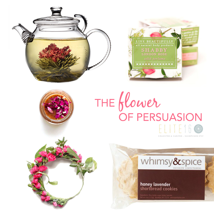 BLOOMING TEA  by blooming tea co.  //   APRICOT ROSE SCRUB MASK  by good 4 you  //   DIY FLOWER CROWN KIT  by which goose  //   SHABBY LONDON ROSE PERFUME  by live beautifully body  //   HONEY LAVENDER SHORTBREAD COOKIES  by whimsy & spice