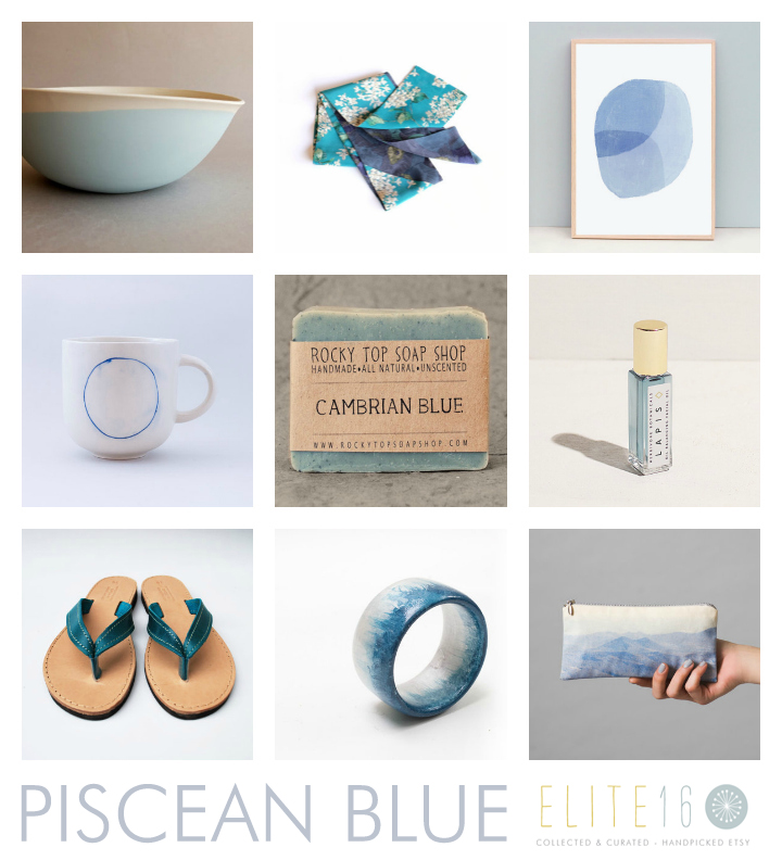 top row  //  PORCELAIN BLUE BOWL  by sculpture in design //  BLUE FLORAL SILK SCARF  by c. banning accessories //  ABSTRACT BLUE CIRCLE PAINTING  by ammiki //  middle row  //  BLUE CIRCLE MUG  by yulia tsukerman //  CAMBRIAN BLUE SOAP  by rocky top soap shop //  LAPIS FACIAL OIL  by herbivore botanicals //  bottom row  //  BLUE LEATHER FLIP FLOPS  by nikola sandals //  BLUE WOODEN BANGLE  by magic jewelry store //  LANDSCAPE POUCH  by Lee Coren