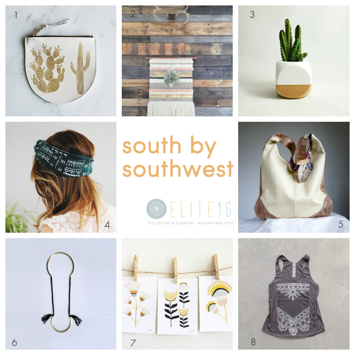 1.  pouch  by amelie mancini 2.  wall art  by sun woven 3.  planter  by sea & asters 4.  headband  by simka sol 5.  bag  by rebec design 6.  necklace  by mercejewelry 7.  art  by leah duncan 8.  top  by blackbird tees