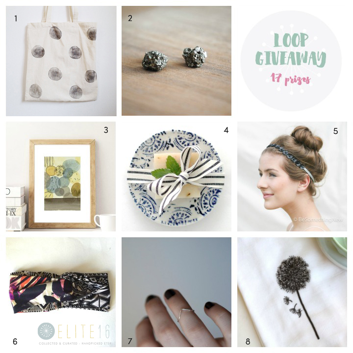 1.  tote  by modern botanics  2.  earrings  by gossamer and violet  3.  print  by francesca lancisi  4.  soap + dish  by little flower soap co.  5.  headband  by be something new  6.  headband  by seven white rabbits  7.  ring  by o bliss jewellery 8.  dish towel  by applewhite handmade