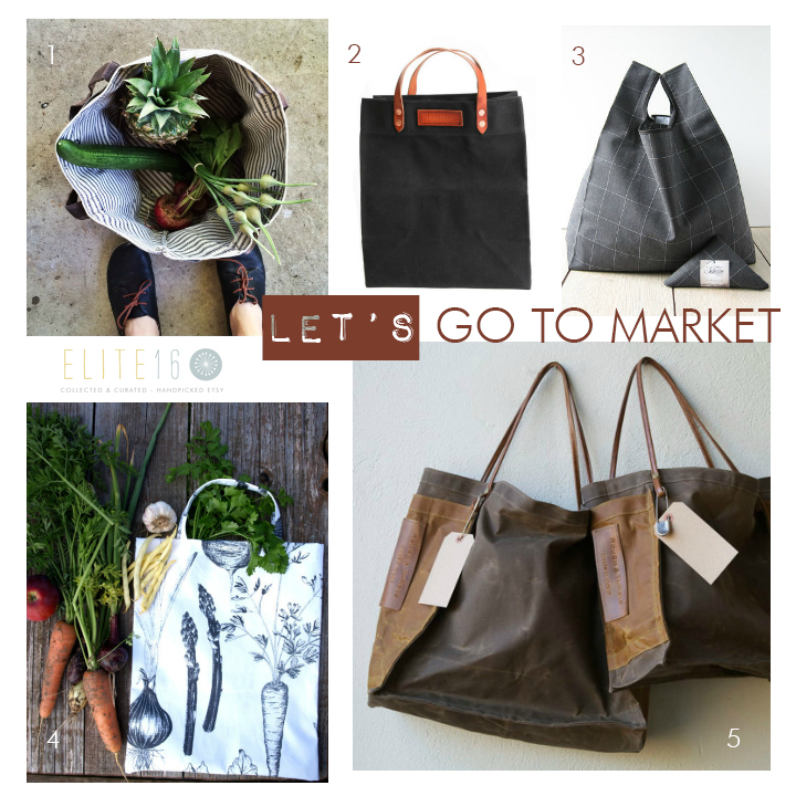 1.  WAXED CANVAS BUCKET BAG  by anhaica bag works 2.  GROCERY TOTE BAG  by hardmill 3.  ELEGANT GRAY TOTE  by atelier settembre 4.  VEGGIE HARVEST TOTE BAG  by dreamzzzzz 5.  FARMER'S MARKET TOTE  by rough and tumble bags