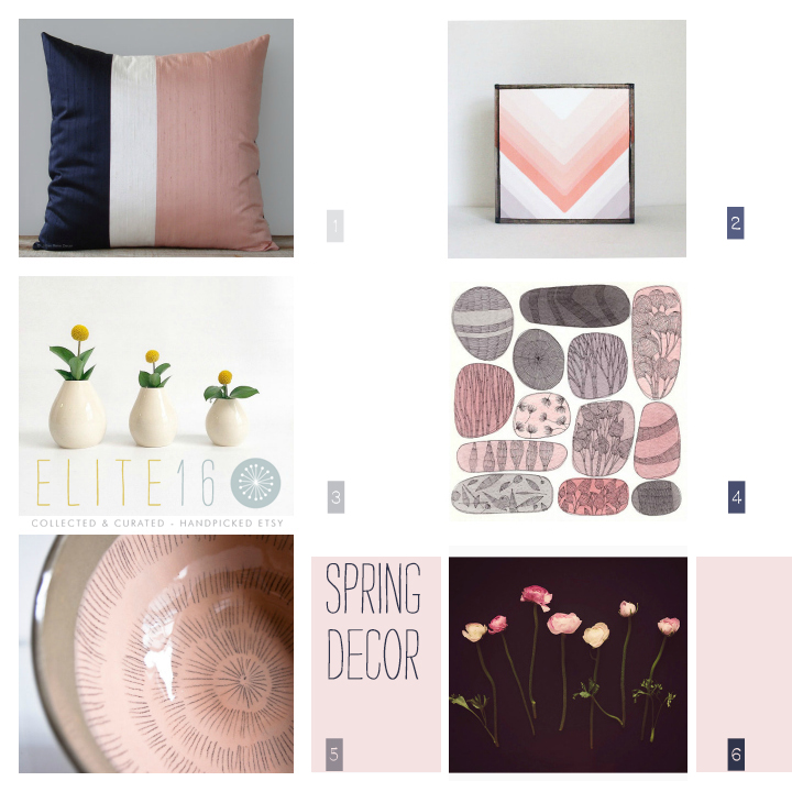 1.  SILK COLORBLOCK PILLOW  by jillian rene decor  2.  GEOMETRIC WALL ART BLOCK  by red tile studio  3.  TEARDROP BUD VASE SET  by kirkwood clay  4.  ORIGINAL FLORAL WATERCOLOR  by francesca lancisi  5.  HANDMADE EARTHY BOWL  by karo art 6.  PINK & BLACK FLOWER PRINT  by semisweet studios