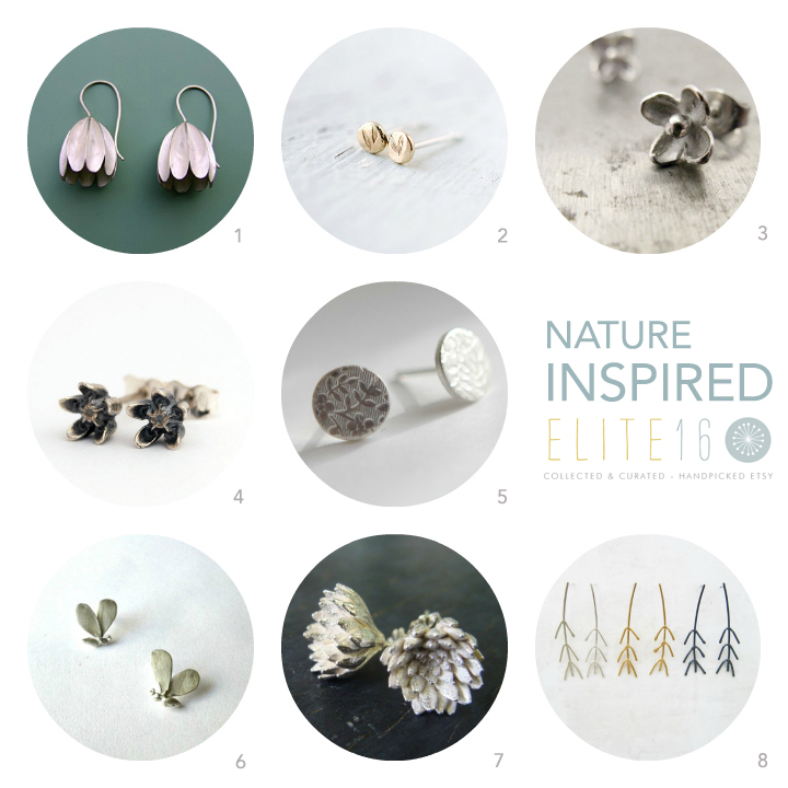 1.  EARRINGS BELLS  by lilium jewelry  2.  GOLD SEEDLING STUDS  by minicyn  3.  LILAC STUD EARRINGS  by autumn equinox  4.  ASLEPIAS EARRINGS  by lucie veilleux  5.  ROUND FLORAL STUDS  by round house jewelry  6.  BEE STUD EARRINGS  by cyklu  7.  SEDUM ROSETTE EARRINGS  by mani designs  8.   TWIG POST EARRINGS  by meander works
