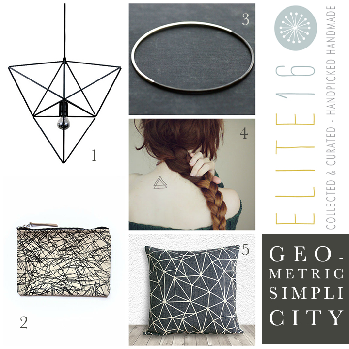 1.  HIMMELI DIAMOND TRIANGLE LIGHT  by panselinos  2.  GRAPHITE SCREENPRINTED POUCH  by oelwein  3.  STERLING SILVER BANGLE  by sd marie jewelry  4.  TRIANGLE TEMPORARY TATTOO  by inknart  5.  GEOMETRIC PILLOW COVER  by 5c home decor