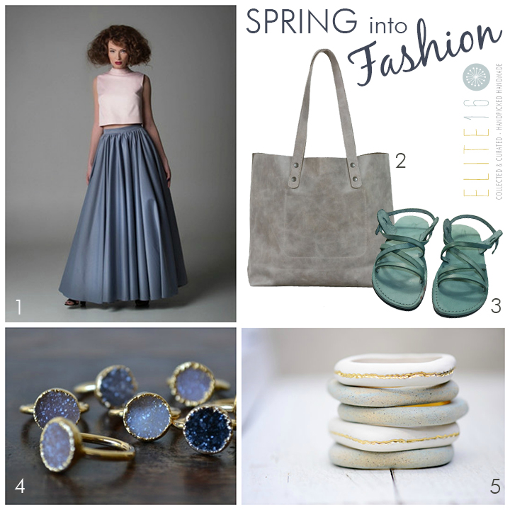 1.  MAXI PLEATED SKIRT  by polish fashion design  2.  DISTRESSED GRAY LEATHER BAG  by leah lerner  3.  LEATHER SANDALS  by sandali  4.  DRUZY GOLD RING  by lux divine  5.  GOLD BEACH PEBBLE BRACELET  by porcelain and stone