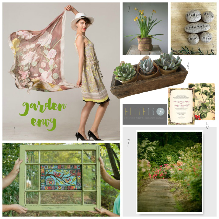 1.  handpainted silk scarf  by klaradar  2.  vintage basket  by 5 gardenias  3.  garden markers  by studio by the forest   4.  rustic planter  by succulents galore   5.  wedding invitation  by willow and sass   6.  mosaic wall art  by romy and clare   7.  garden photography  by semi sweet studios