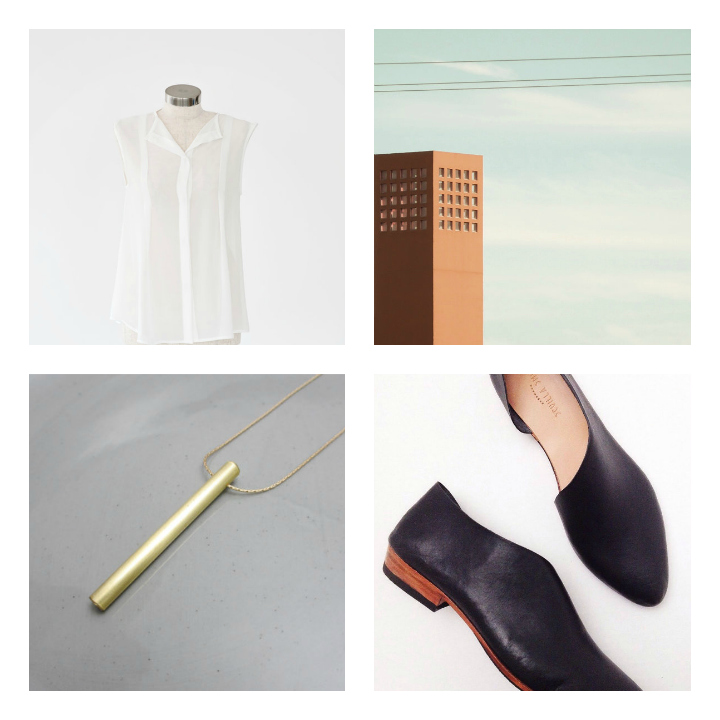 Top Left ::   OFF WHITE BLOUSE   by little white closet  //  Top Right ::  URBAN ART PRINT  by 9th cycle studios  //  Bottom Left ::  MINIMALIST BRASS NECKLACE  by natura metallum  //  Bottom Right ::  HANDMADE LEATHER FLATS  by sevilla smith