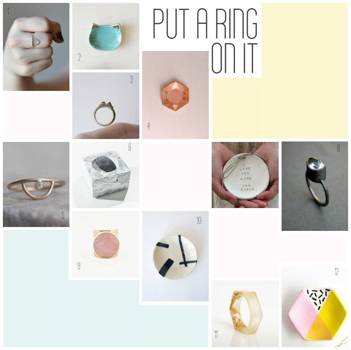 Ring dishes and rings ::  1.  triangle ring  by o bliss jewellry  2.   cat ring dish  by pottery lodge   3.  bronze ring  by the heiress atelier   4.  hexagon ring dish  by the object enthusiast   5.  arc ring  by mineralogy design   6.  concrete ring bowl  by insek design   7.  personalized ring dish  by orly design   8.    aquamarine ring  by jaime jo fisher   9.  rose quartz ring  by julie nolan jewelry   10.  modern art ring dish  by kertis  11.  hexagonal resin ring  by rosella resin   12.  hexagon ring dish  by quiet clementine