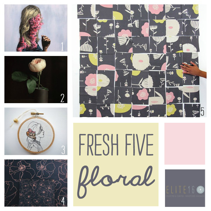 florals :: 1.  gone wild print  by clare elsaesser  2.  modern flower photography  by lucy snowe photography  3.   florence embroidery hoop  by cheese before bedtime  4.  anemone greeting card  by the vintage vogue   5.  sweet plum fabric square mix  by skinny la minx