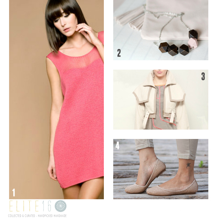 1.  KNIT PINK DRESS  by the knit kid  2.  GEOMETRIC NECKLACE  by casually natural  3.  ZIPPERED JUMPER  by freaks kim tae-hoon  4.  NATURAL WOVEN SHOES  by bangi shop