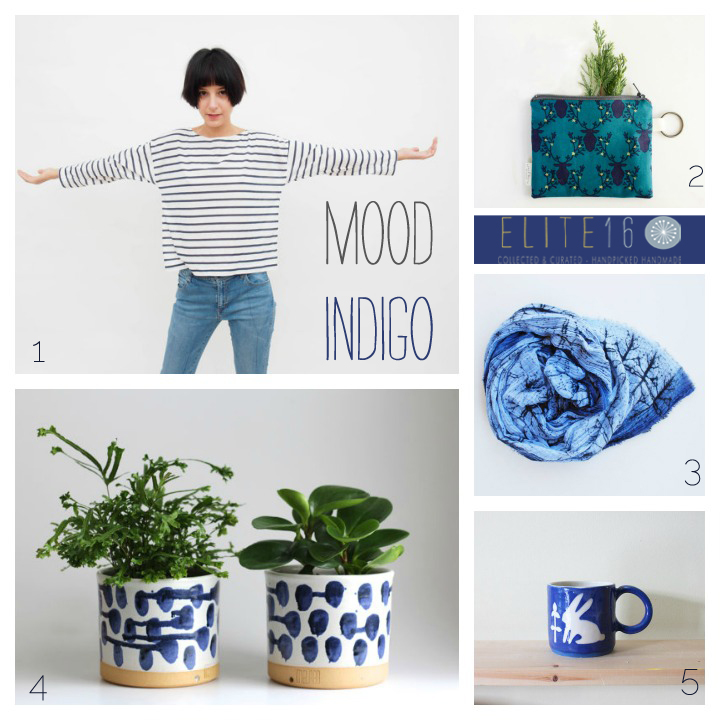 1.  shirt  by anna k. shop 2.  zippered pouch  by applewhite handmade  3.  screen printed scarf  by 88 editions 4.  planters  by melabo 5.  bunny with clover cup  by beardbangs ceramics