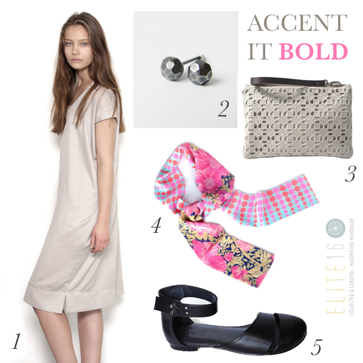 1.  CASUAL DRESS  by karin a on etsy  2.  STERLING SILVER STUDS  by mitz metals  3.  LINEN CLUTCH  by independent reign  4.  BRIGHT PINK SCARF  by c.banning accessories  5.  HEIDI HANDMADE SHOES  by keyman design