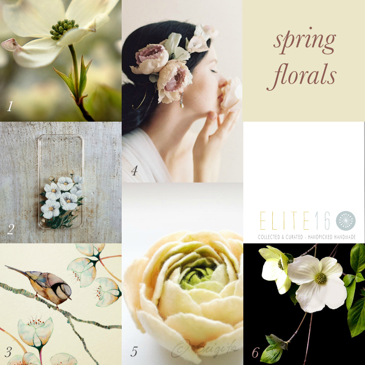 1.  SPRING BLOSSOM PHOTOGRAPH  by softly seen  2.  WHITE FLORAL iPHONE CASE  by a fancy or a feeling  3.  GLASS WINGS PRINT  by buttermoths  4.  BRIDAL FLOWER CROWN  by erica elizabeth design  5.  FELT FLOWER BROOCH  by bridget studio  6.  BOTANICAL DOGWOOD PRINT  by stuido d and k
