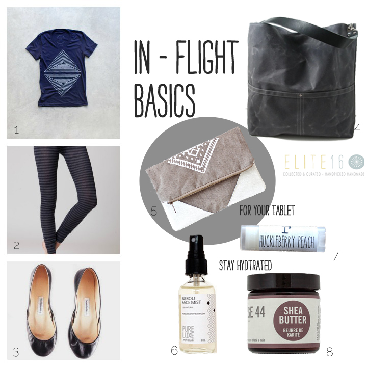 1.   shirt  by blackbird tees  2.  leggings  by duende 74   3.  ballet flats  by the white ribbon   4.  canvas bag  by independent reign  5.  tablet case  by coriumi  6.  neroli face mist  by pure luxe apothecary  7.  lip balm  by ripe shop  8.  shea butter moisturizer  by carriage 44