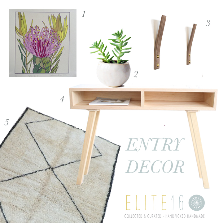 1.  FLOWER SCREEN PRINT  by devill kate  2.  MILKY WHITE PLANTER  by seasons for you  3.  WALNUT WOOD COAT HOOK  by simple wood goods  4.   MODERN HALL STAND  by milkcart  5.  VINTAGE MOROCCAN RUG  by boutique maroc