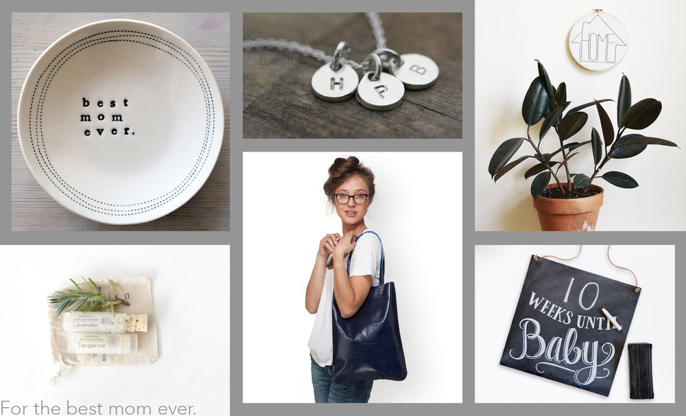 (clockwise) natural balm and bath set by  Little Flower Shop Co , best mom ever dish by  mbartstudio , silver monogram necklace by  burnish , home embroidery hoop by  SarahKBenning , baby countdown sign by  LilyandVal , navy leather tote bag by  LeahLerner .