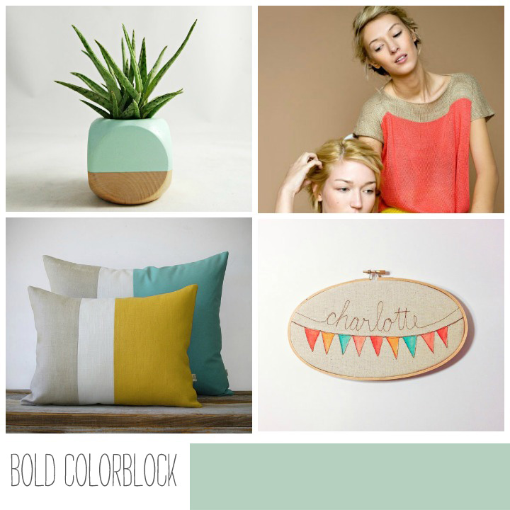 PLANTER //Sea and Asters   COLORBLOCK TOP //The Knit Kid    COLORBLOCK PILLOWS //Jillian Rene Decor   HOOP ART //Mama Bleu Designs