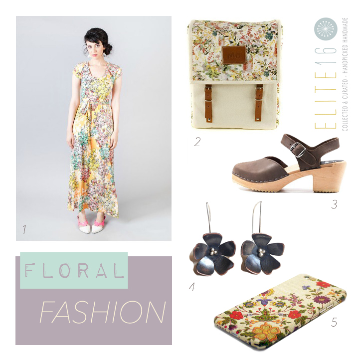 1. FLORAL SUMMER DRESS by jul by julia gasin  2. PRAIRIE BACKPACK by modern naked  3. VICTORIA SANDAL by sandgrens  4. CHERRY BLOSSOM EARRINGS by copper spine studio  5.  FLORAL IPHONE 6 CASE by wrap all