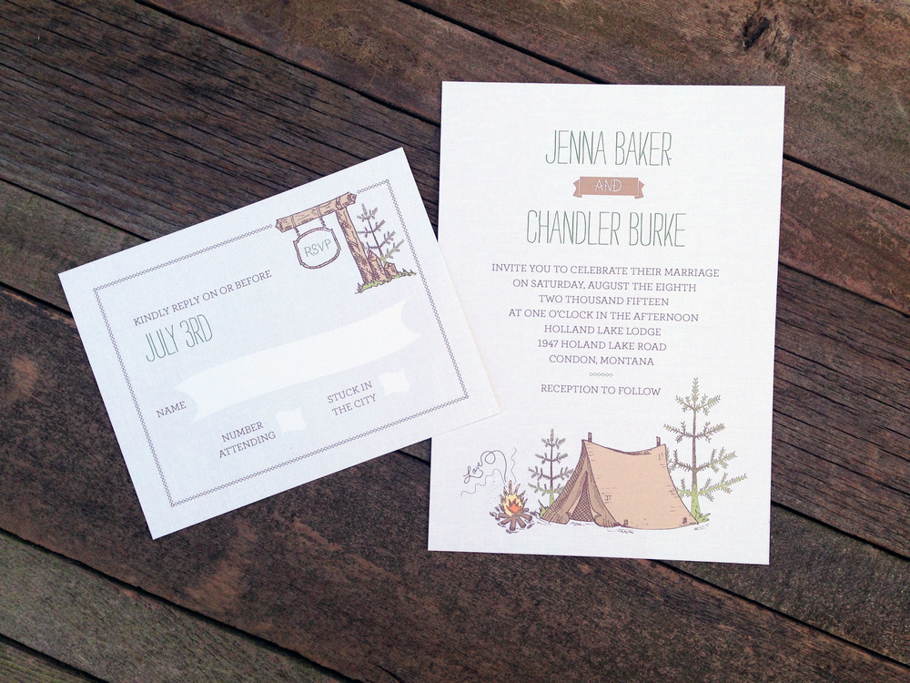 Camping inspired  wedding invitations