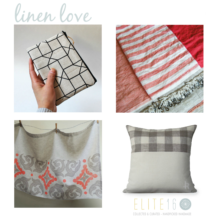 top left  ::  GEOMETRIC LINEN PURSE  by oktak //  top right  ::  LINEN BEACH TOWEL  by choisette //  bottom left  ::  PRINTED LINEN CAFE CURTAIN  by giardino //  bottom right  ::   CHECKED LINEN PILLOW COVER  by jillian rene decor