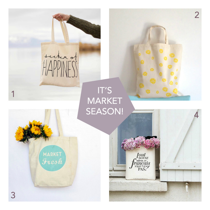 1.  SEEKER OF HAPPINESS TOTE  by seeker of happiness 2.  ORGANIC COTTON TOTE  by modern botanics shop 3.  MARKET FRESH TOTE  by apple white 4.  BETTER IN FRENCH TOTE  by the paris print shop