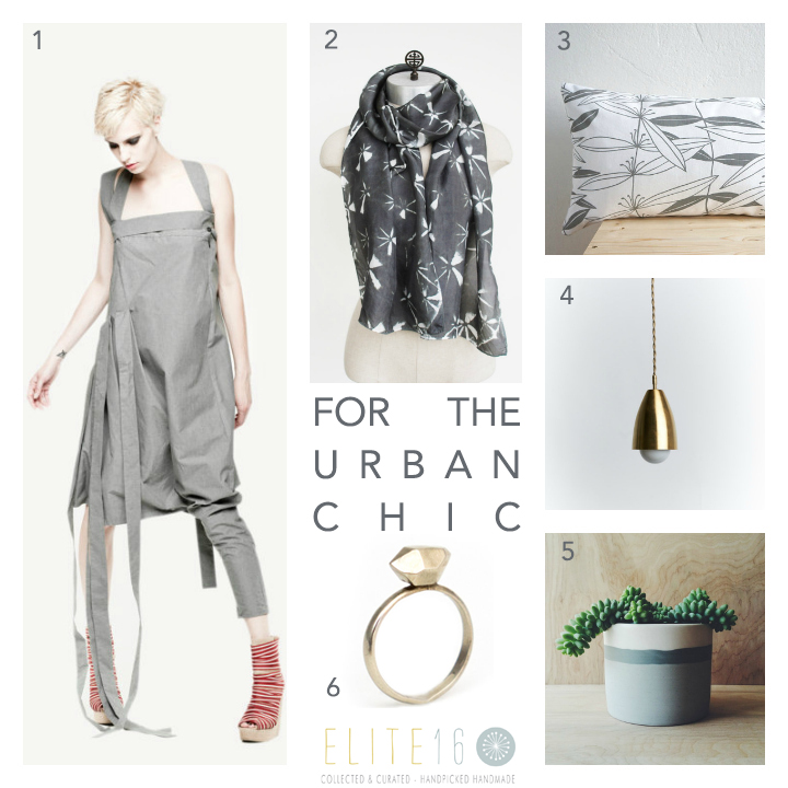 1.  DECONSTRUCTED ONE-TROUSER LEG DRESS  by Maria Queen Maria  2.  GEOMETRIC SILK SCARF  by 88 editions  3.  ORGANIC COTTON PILLOW  by laKattun  4.  BRASS MIDCENTURY PENDANT LIGHT  by Southern Lights TN  5.  LANDSCAPE PORCELAIN PLANTER  by ReSeed  6.  HERKIMER STUD RING  by Entropy Jewels