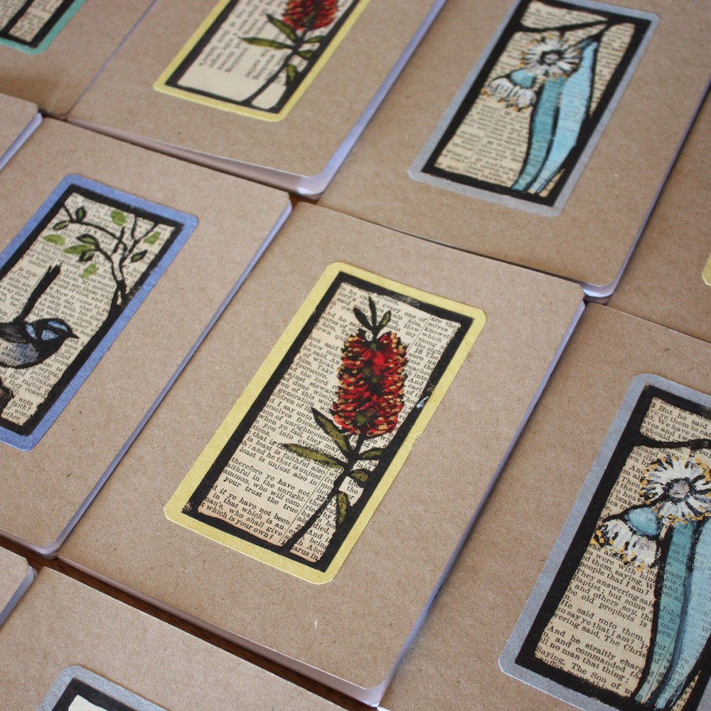 Trees 4 the Wood  :: All finished and waiting for fixative spray. I'm stocking up for the Christmas rush! These linocut notebooks are great gifts for teachers. They're also simple to send through the post.