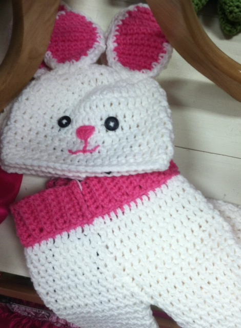Hand crocheted bunny hat and matching pants (hat alone is $18, set is $36)