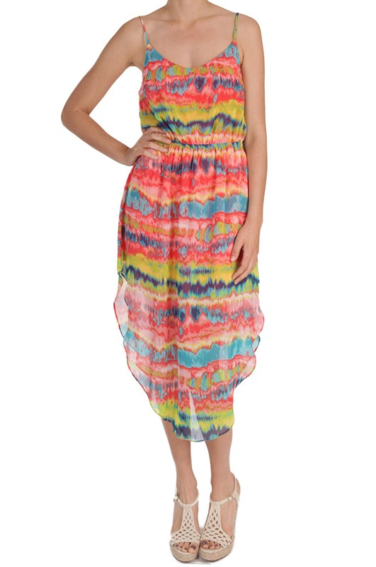 Wear this breezy watercolor sundress to Easter brunch or cocktails at a barefoot bar.  This dress will be a favorite all Spring and Summer whether you're cruising in Baja or just cruising to summer camp with the kids!