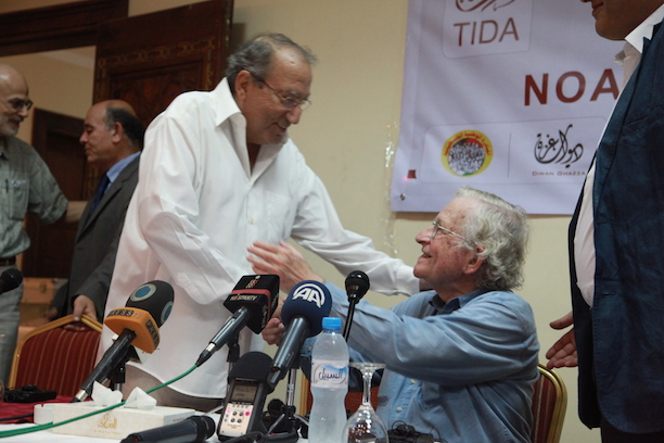 Eyad el Sarraj and Noam Chomsky at a conference in the Gaza Strip in 2012