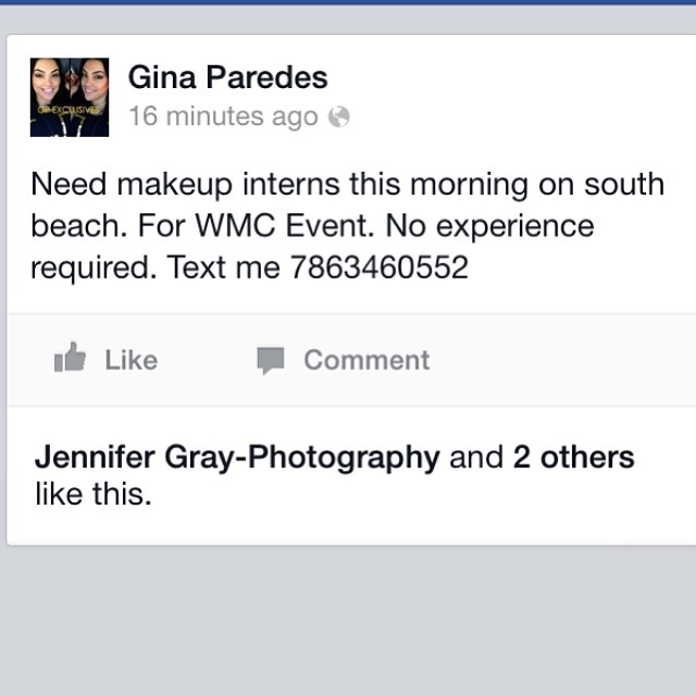 #makeupartist #wmc #miami #handsonexperience #opportunity