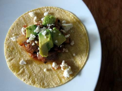 Tacos de Tinga Poblana con Agucate y Questo Fresco: Smoky Pork Tinga Tacos with Avocado and Fresh Cheese
