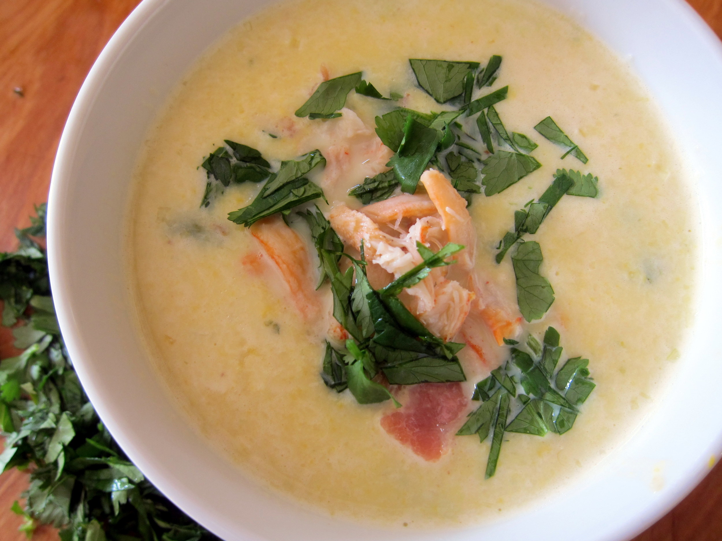 Crema de Elote con Pollo y Poblano: Creamy Corn Soup with Chicken and Poblano Chile