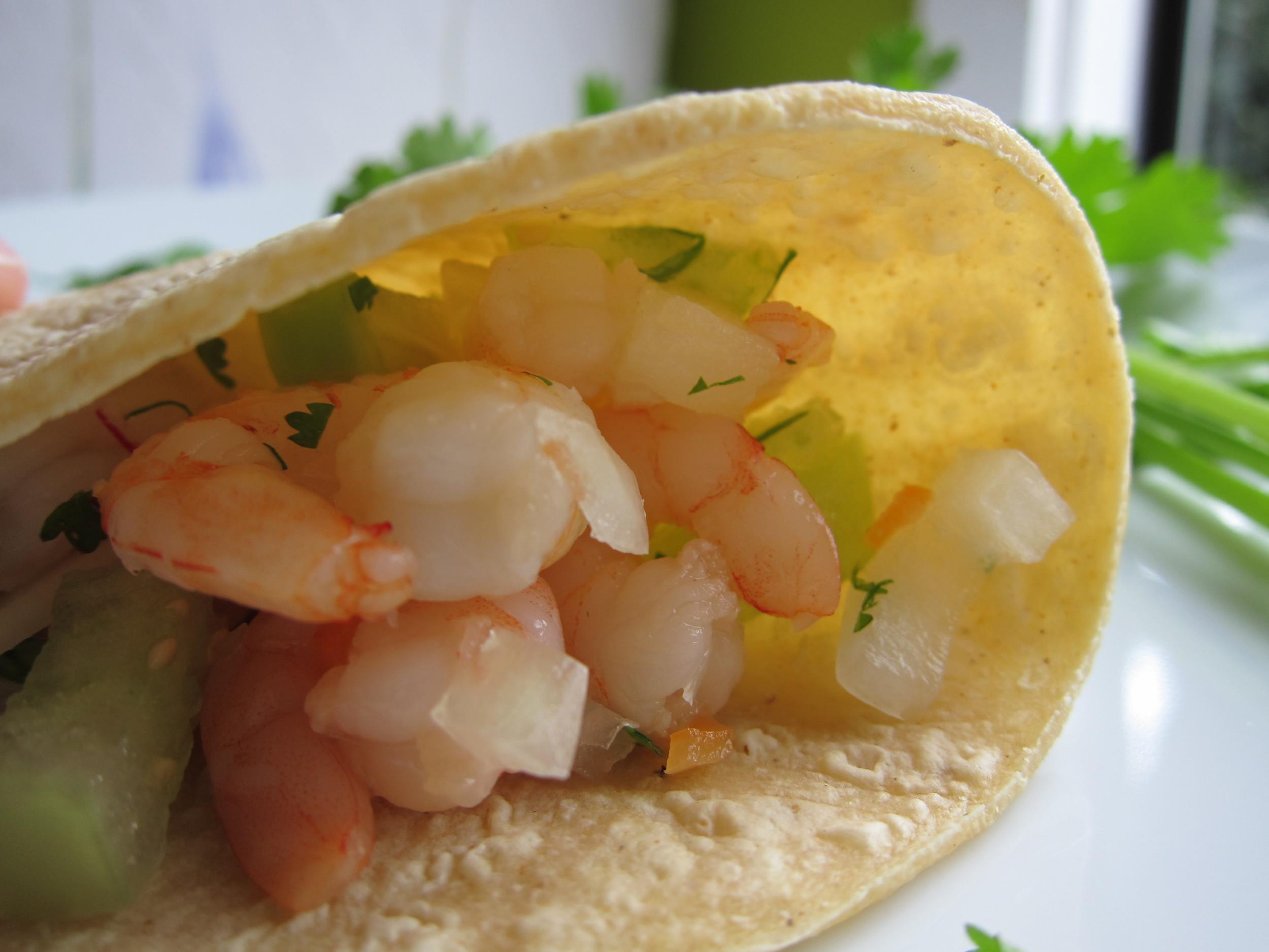 Tacos de Mariscos a la Vinagreta: Seafood Salad Tacos with Tomato, Radish and Habanero