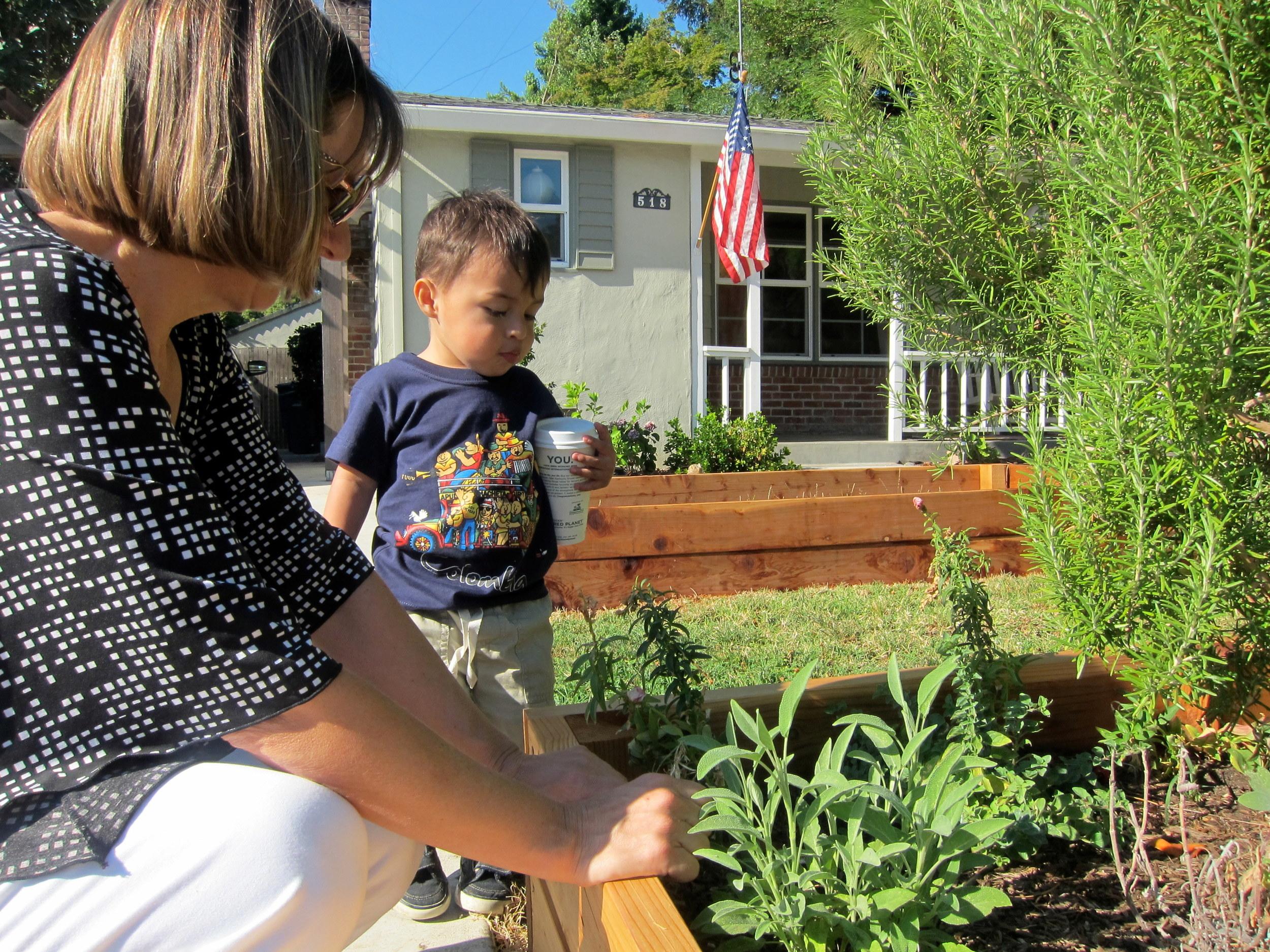 Grandma and Elian garden