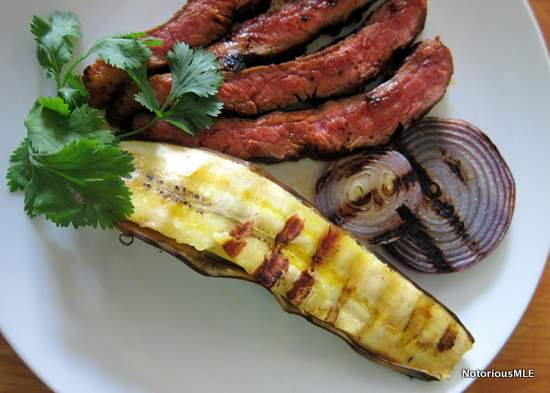 Grilled Red-Chile Steak with Sweet Plantains, Red Onion and Chipotle Salsa