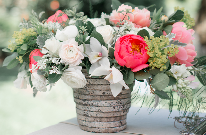 Spring garden party wedding inspiration. Floral centerpiece. Celsia Floral, Spread Love Events, Christie Graham Photography.