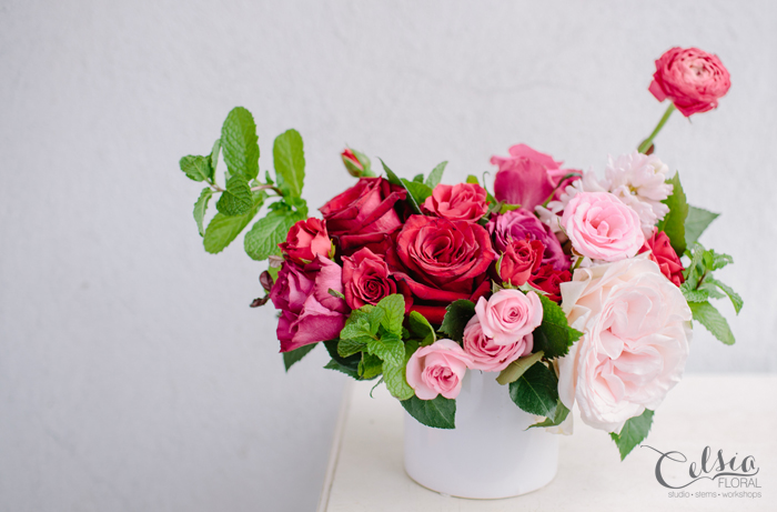 Strawberries and Cream is a beautifully fragrant, sweet and playful arrangement including roses, ranunculus and fresh mint.