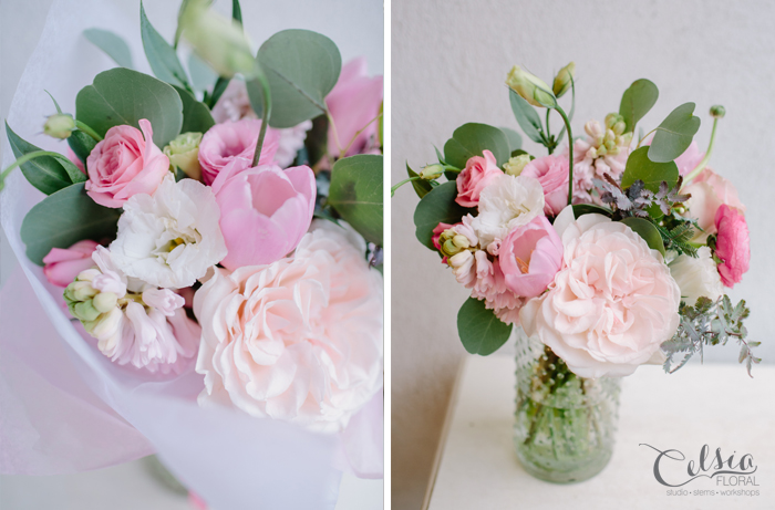 Sweet Petite in a pastel palette includes lush, seasonal blooms such as tulips, hyacinth, lisianthus and roses.