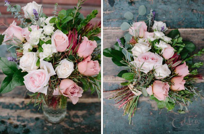 The Romantic Dozen is a luxurious bouquet incorporating assorted garden rose varieties, accented with fresh herbs such as mint and lavender.