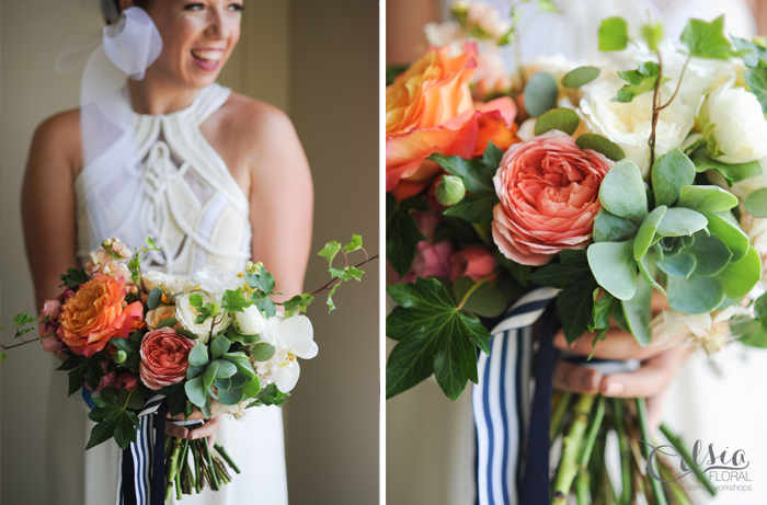 Colourful bridal bouquet with garden roses, succulents, orchids and ivy, by Celsia Floral.