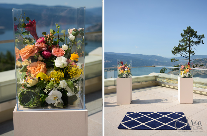 Art gallery inspired ceremony arrangements by Celsia Floral.