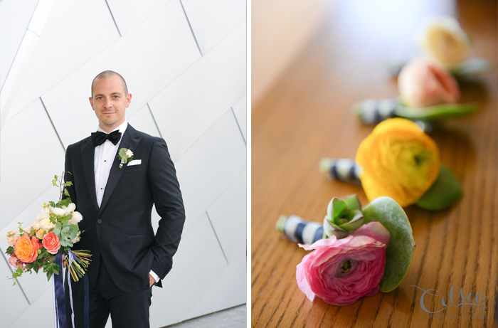 Ranunculus and succulent boutonnieres by Celsia Floral.