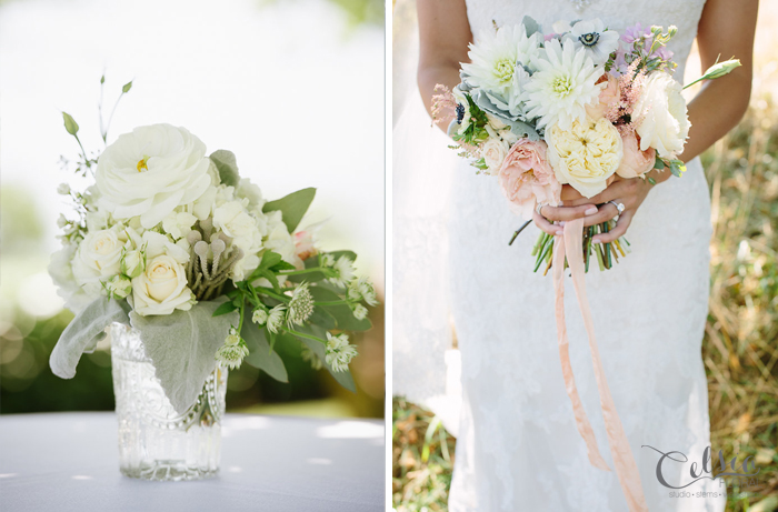Blush bridal bouquet by Celsia Floral. Pastel coloured florals of dahlia, garden roses, ranunculus, anemones, stock, astilbe and dusty miller.