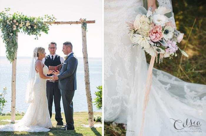 Blush bridal bouquet and birch ceremony arbor.